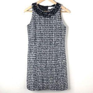 Boston Proper Tweed Embellished Sheath Dress